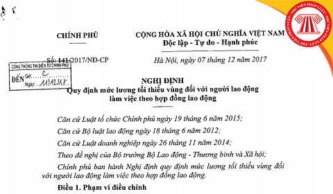 Đã có Nghị định 141/2017/NĐ-CP: Tăng lương tối thiểu vùng 2018