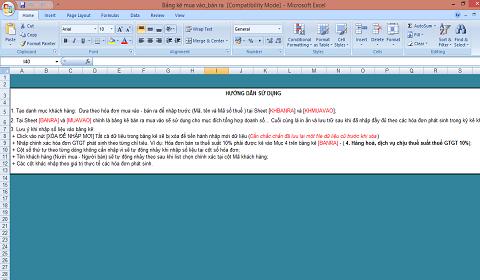 Hướng dẫn sử dụng phần mềm Excel bảng kê mua vào, bán ra