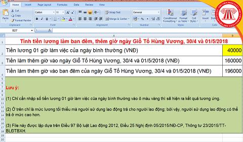 File Excel tính Lương dịp Giỗ Tổ Hùng Vương, 30/4, 01/5/2018